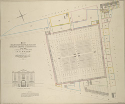 Plan of Islington cattle market, building ground & residences situate between Southgate Rd & Lower Road, Islington